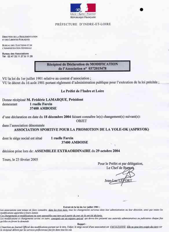 Aspryok association sportive des pratiquants de yole ok - Declaration changement bureau association ...